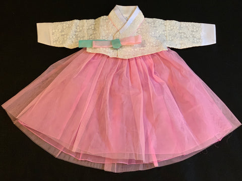 1st Birthday Girl  Pink Tulle and White Lace Hanbok