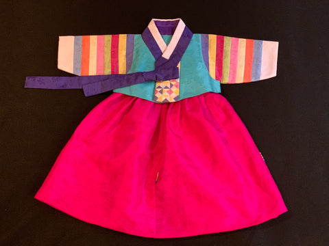 100th Day Girl Pastel Stripes Hanbok