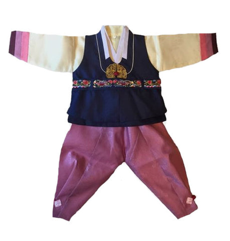 Boy's First Birthday Hanbok Navy Lavender (Size 2)