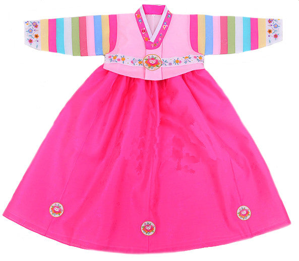 Girl's First Birthday Hanbok Floral Pink  (Size 1)