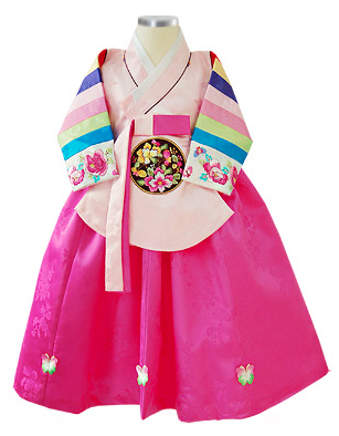 1st Birthday Girl  Pink Palace Hanbok Style 2