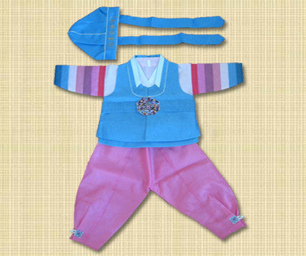 1st Birthday Boy Light Blue and Pink Hanbok