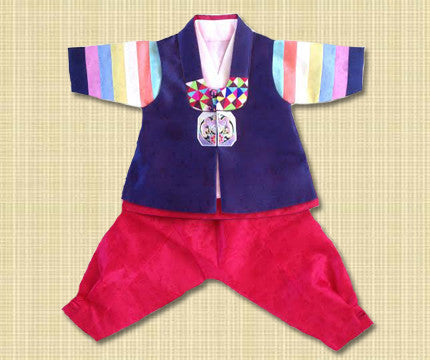 100th Day Boy Blue and Red Hanbok