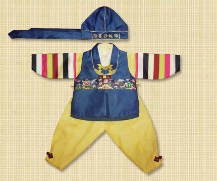Size 4 Boy Traditional Blue and Yellow Hanbok