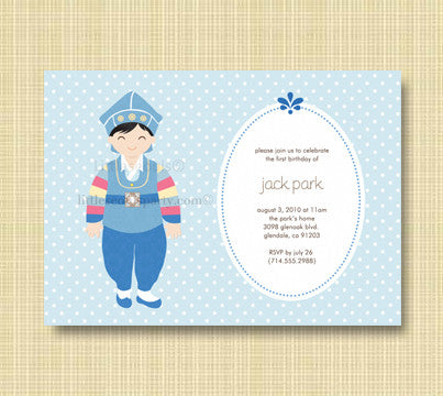 Blue Dots Hanbok Invitation