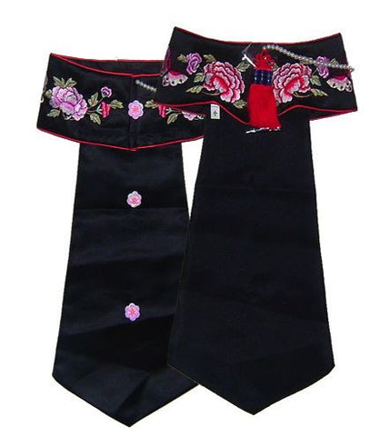 Hanbok Long Headpiece Black Floral (Size 1)