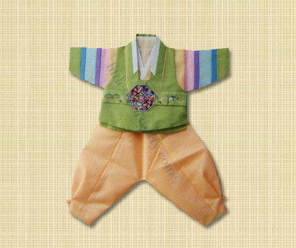 100th Day Boy Green and Yellow Hanbok