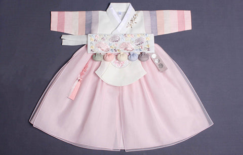 1st Birthday Pastel Light Pink Princess Hanbok