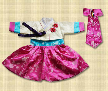 1st Birthday Girl Korean Pink and Blue Hanbok
