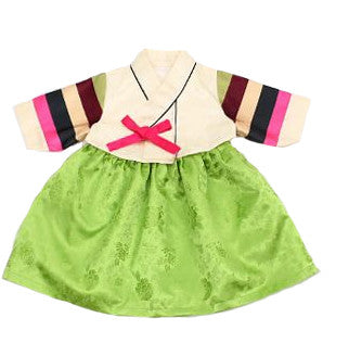 Girl's Hanbok Mini Skirt Dress Lime (Size 3)