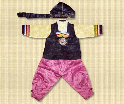 1st Birthday Boy Navy Pink Hanbok