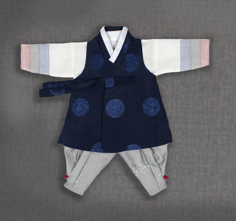 100th Day Boy Blue and Gray Prince Hanbok