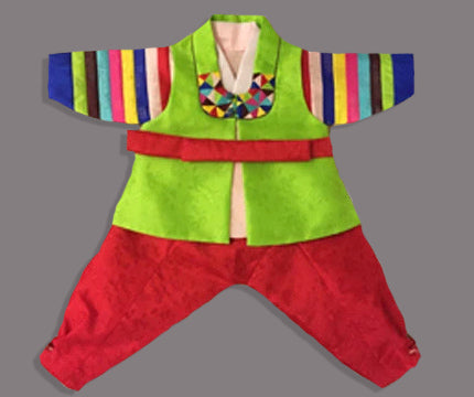 100th Day Boy Green and Red Hanbok