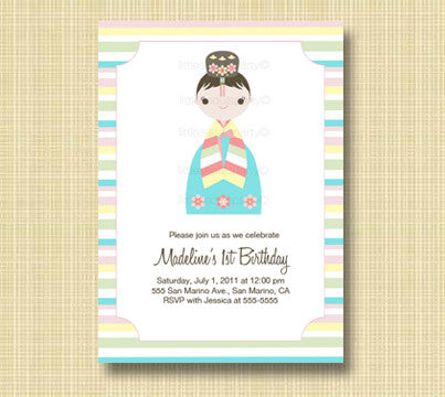 Little Seouls Pastel Hanbok Invitation