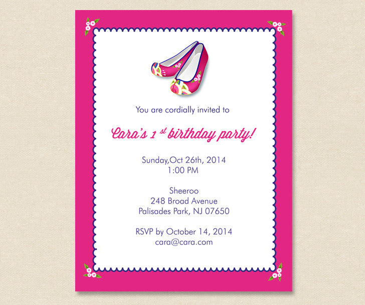 Pink Hanbok Shoes Invitation