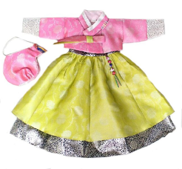 Girl's First Birthday Hanbok Pink And Lime (Size 1