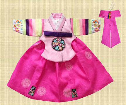 1st Birthday Girl Pink Palace Pastel Hanbok