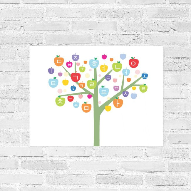 Poster Korean Hangul Alphabet Tree