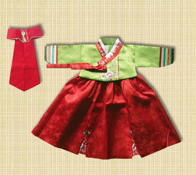 1st Birthday Girl Green and Red Hanbok