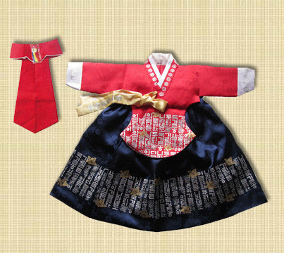 1st Birthday Girl Red and Navy Hangul Hanbok