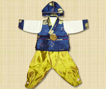 1st Birthday Boy Royal Navy and Gold Hanbok