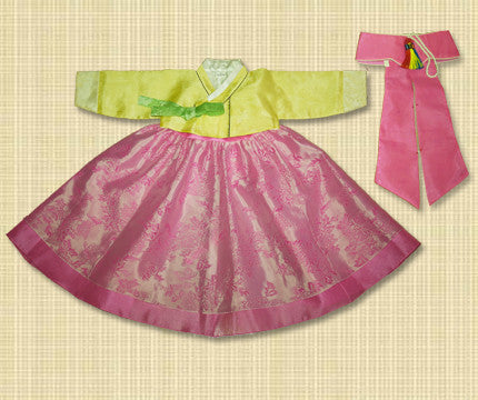 1st Birthday Girl Yellow and Pink Hanbok