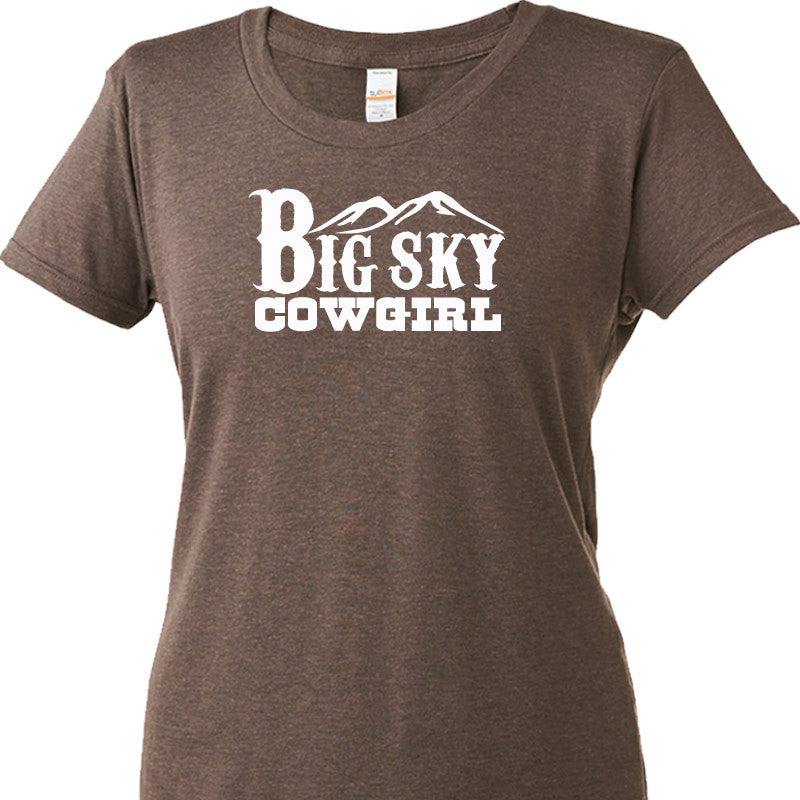 Big Sky Cowgirl Ladies Short Sleeve Tri Blended Tee