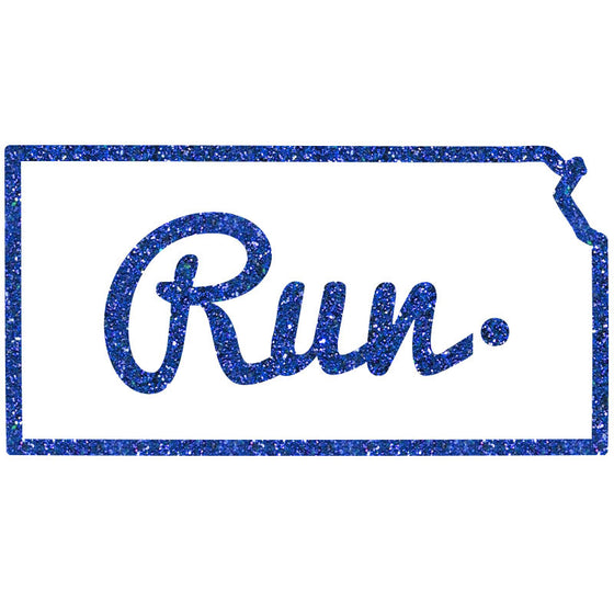 Run Kansas Outline Cursive - Design Only