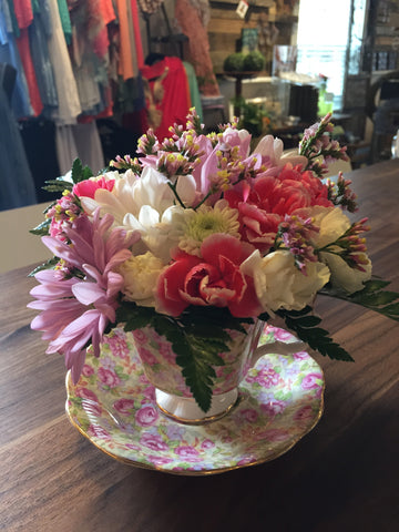 Teacup Flower Arrangement at Fleuristic Flowers Gift Shop Guelph