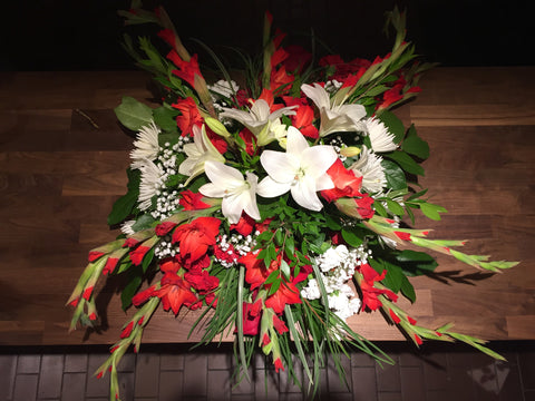 Red & White Half Casket at Fleuristic Flowers Gift Shop Guelph