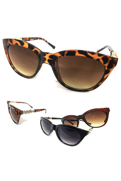 Cat Eye Crystal Temple Sunglasses