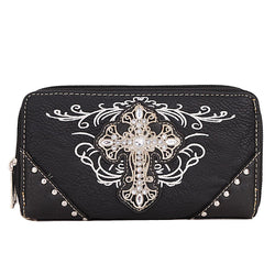 ACC/Wallet - Leather Embroidered Blingy Cross Wallet