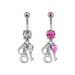 Handcuff and Heart Key Belly Ring