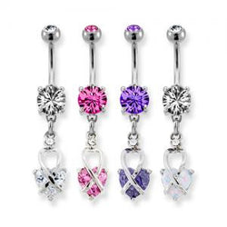 Twist Gem Heart Belly Ring
