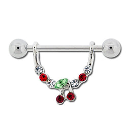 Nipple Stirrup with Gem Cherry