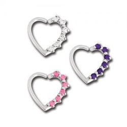Left & Right Side Prong Gem Heart Daith Ring