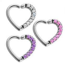Left & Right Side Pave Gem Heart Daith Ring