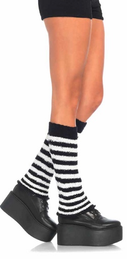 Sexy - Fuzzy Striped Leg Warmers