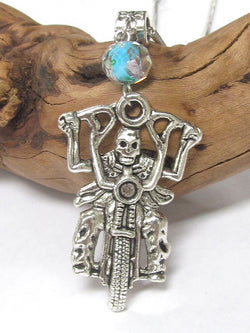 Antique Silver Skull Biker Pendant Necklace