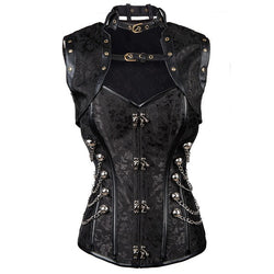 Steampunk Steel Boned Overbust Corset with Jacket