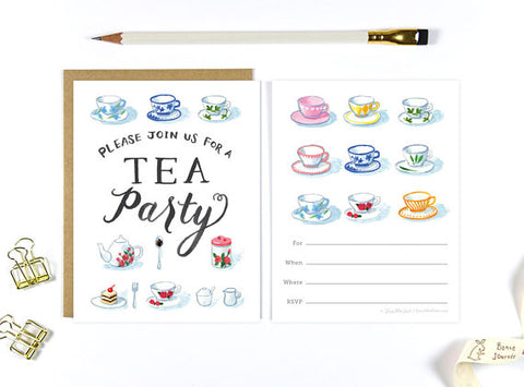 Four Wet Feet Studio - Tea Party Invitation Card set of 10