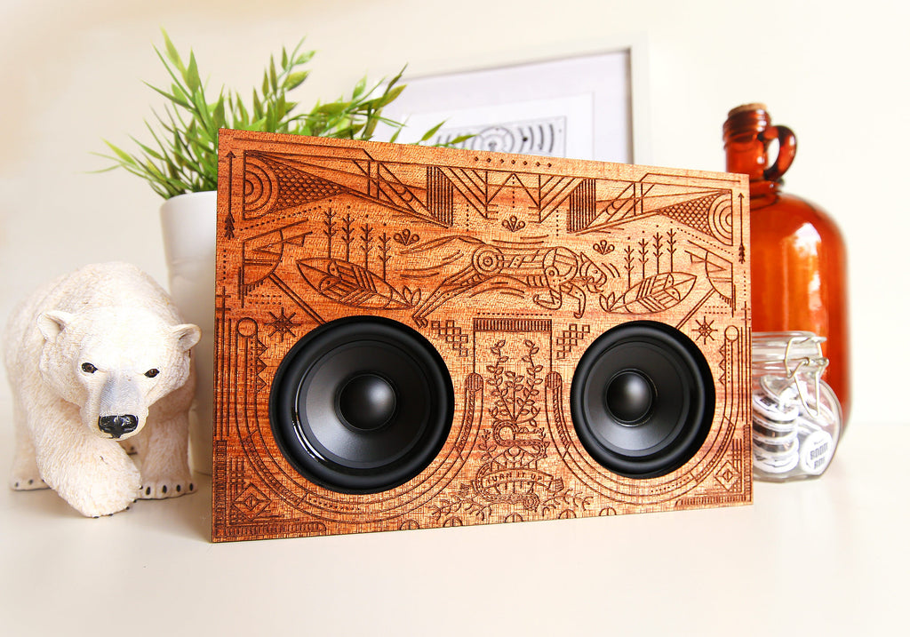 Wooden Boombox Front - Simple Illustration, Line Work