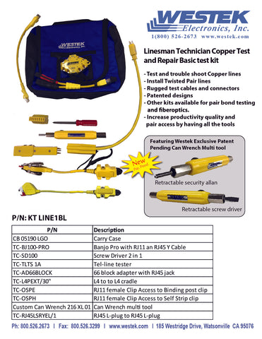 Linesman Technician Copper Test and Repair Basic Test Kit