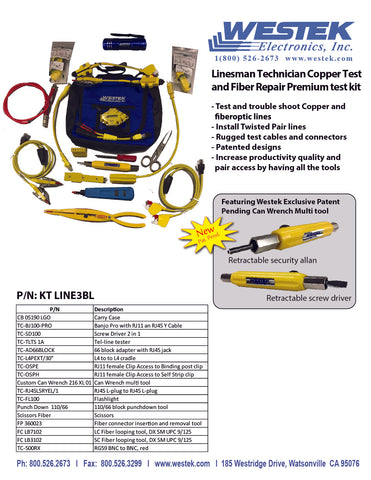Linesman Technician Copper Test and Fiber Repair Premium Kit