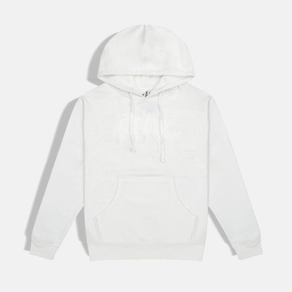LOGO DRIP EMBROIDERED HOODIE (WHITE)