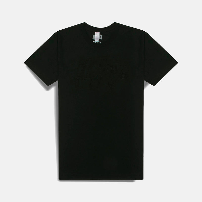 LOGO DRIP EMBROIDERED T-SHIRT (BLACK)