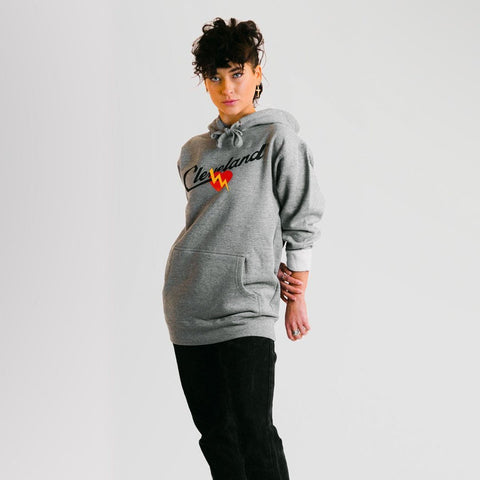 Cleveland® Script Heart Hoodie (Gray) - ILTHY®