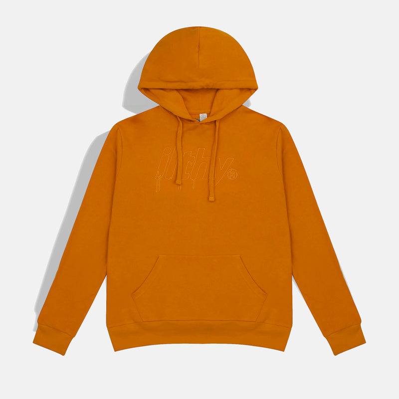 LOGO DRIP EMBROIDERED HOODIE (YELLOW)