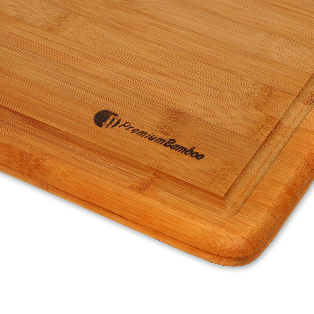 Large Wood Cutting Board Part - 49: Extra Large Bamboo Cutting Board - 18x12 Thick Strong Bamboo Wood Cutting  Board With Drip Groove