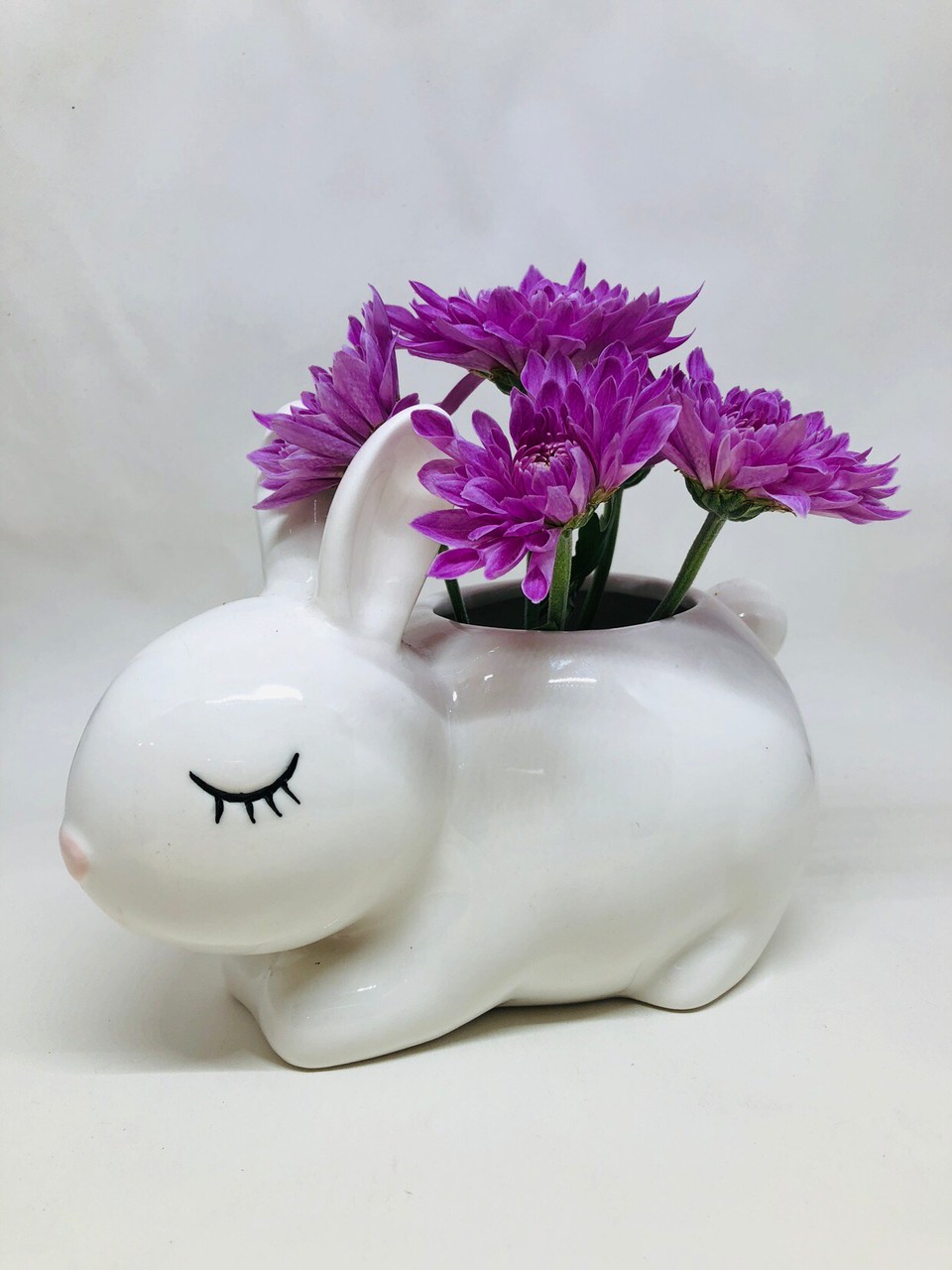 White Bunny Pot